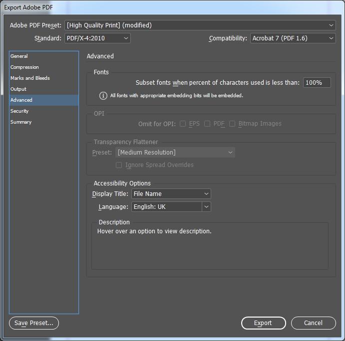 pdf export indesign - advanced
